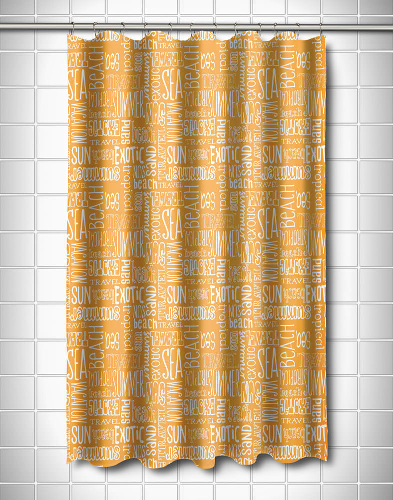 Beach Vacation Words Shower Curtain