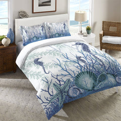 Aquatic Seahorses and Sea Shells Duvet Cover