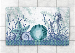 Aquatic Seahorses and Sea Shells Accent Rug