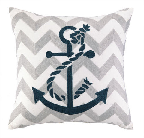 Anchor Chevron Embroidered Pillow
