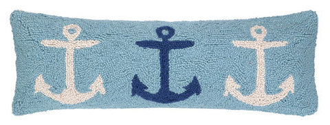 Anchor Trio Blue Hook Pillow