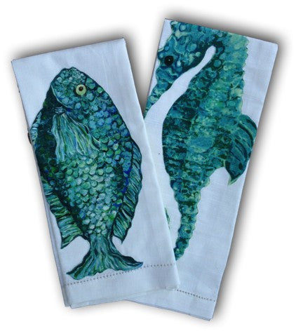 Aqua Sea Horse and Fish Towel Set