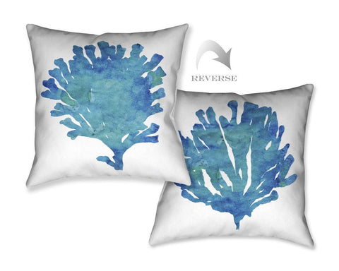 Aquamarine Coral Outdoor Decorative Pillow