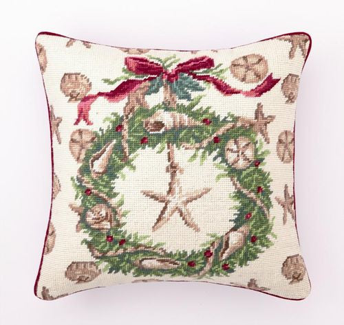 Beach Christmas II Shell Wreath Pillow