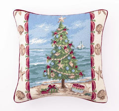 Beach Christmas I Tree Pillow