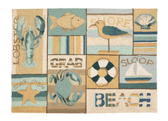 Beach Collage Hook Rug- Accent