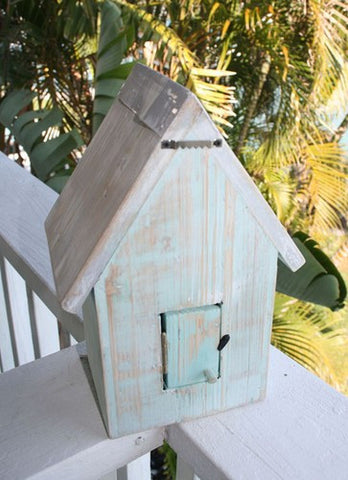 Beach Cottage Birdhouse- Aqua