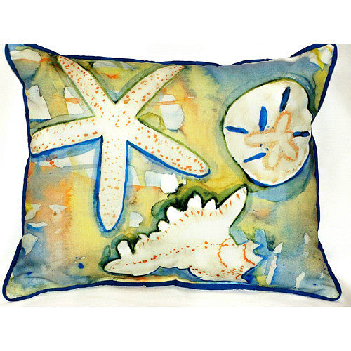 Betsy Drake Beach Treasures Pillow- Indoor/Outdoor