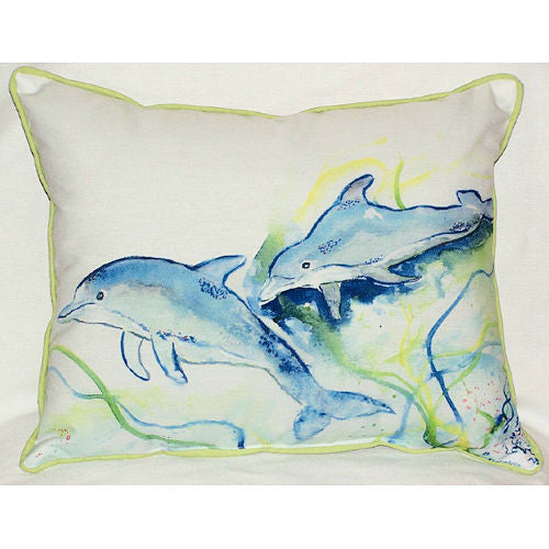 Betsy's Blue Dolphins Pillow- Indoor/Outdoor