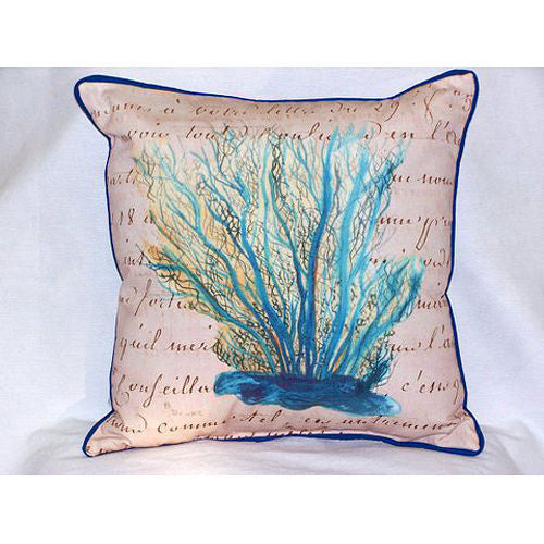 Betsy Drake Blue Coral Beige Pillow- Indoor/Outdoor