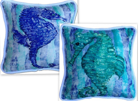 Blue and Green Seahorse Cotton Canvas Pillow Set- Indoor/Outdoor- Oversized