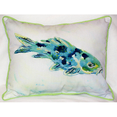 Betsy Drake Blue Koi Fish Pillow- Indoor/Outdoor