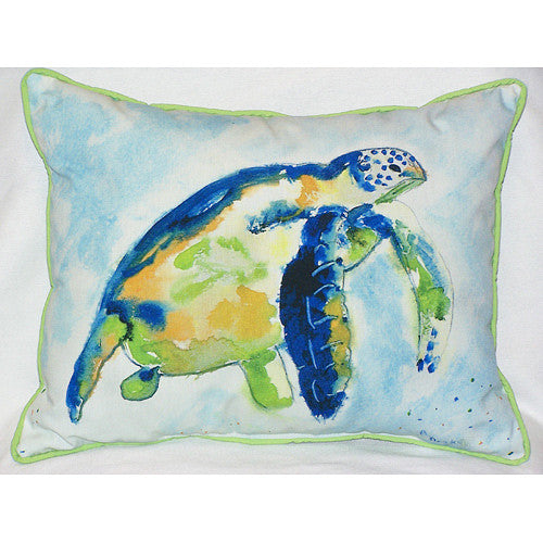 Betsy Drake Blue Sea Turtle Pillow- Indoor/Outdoor