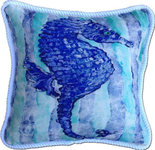 Blue Seahorse Cotton Canvas Pillow- Indoor/Outdoor- Oversized
