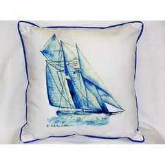 Betsy Drake Blue Sailboat Pillow- Indoor/Outdoor