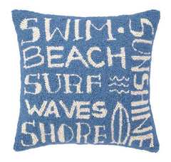 Blue Surfer's Paradise Script Hook Pillow