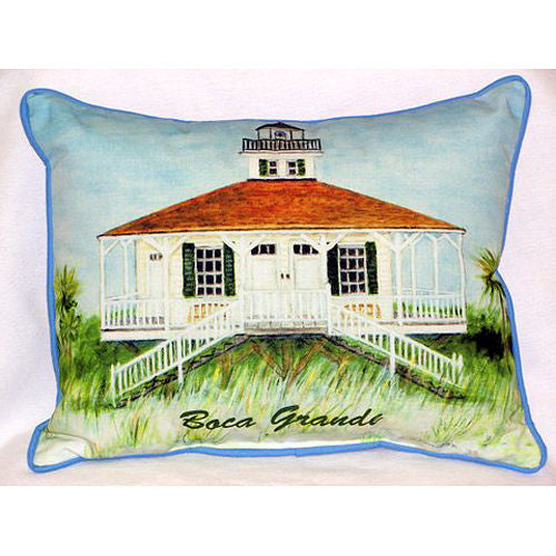Betsy Drake Boca Grande Lighthouse Pillow- Indoor/Outdoor