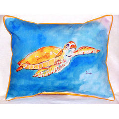 Betsy Drake Brown Sea Turtle Pillow- Indoor/Outdoor