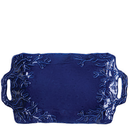 Corallo Blue Handled Rectangular Platter by Vietri- Retired- Limited Stock!