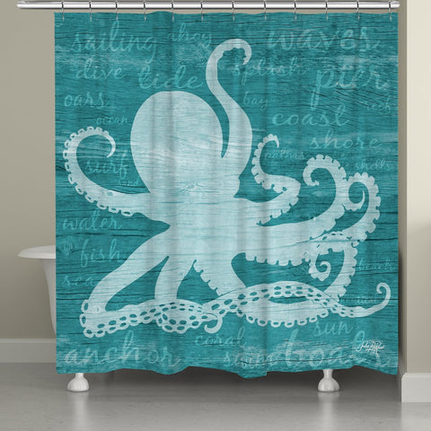 Octopus Words Shower Curtain