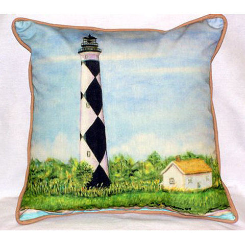 Betsy Drake Cape Lookout Lighthouse Pillow- Indoor/Outdoor