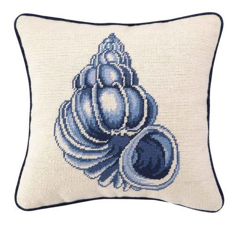 Conch Seashell Needlepoint Pillow