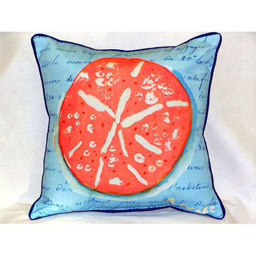 Betsy Drake Coral Sand Dollar Blue Pillow- Indoor/Outdoor