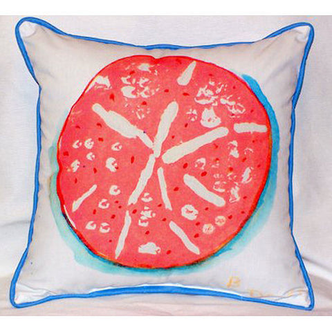 Betsy Drake Coral Sand Dollar Pillow- Indoor/Outdoor