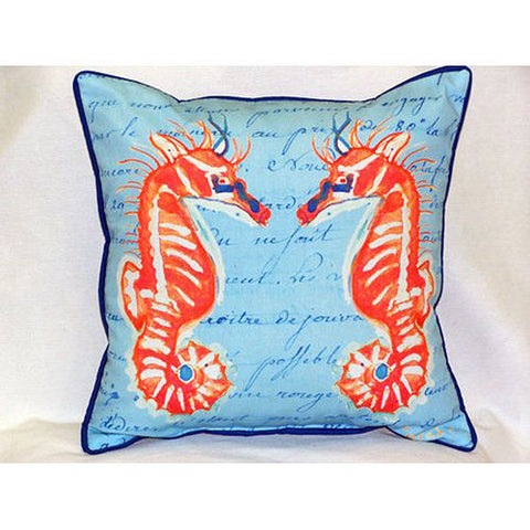Betsy Drake Coral Sea Horses Blue Pillow- Indoor/Outdoor