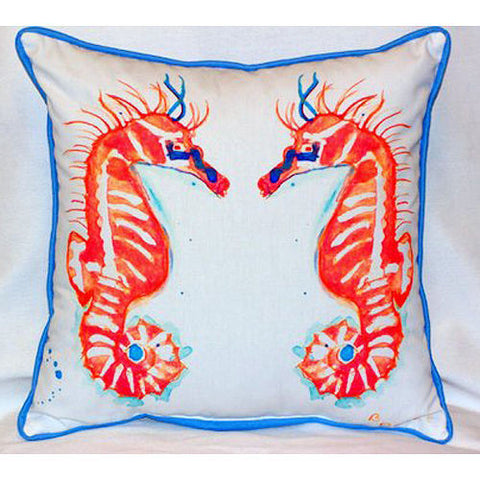 Betsy Drake Coral Sea Horses Pillow- Indoor/Outdoor