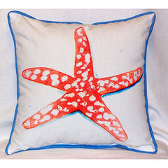 Betsy Drake Coral Starfish Pillow- Indoor/Outdoor