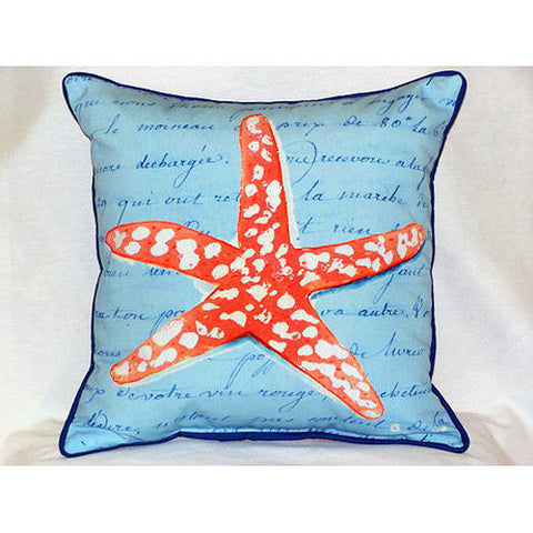 Betsy Drake Coral Starfish Blue Pillow- Indoor/Outdoor