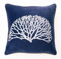 Coral Fan Velvet Embroidered Pillow