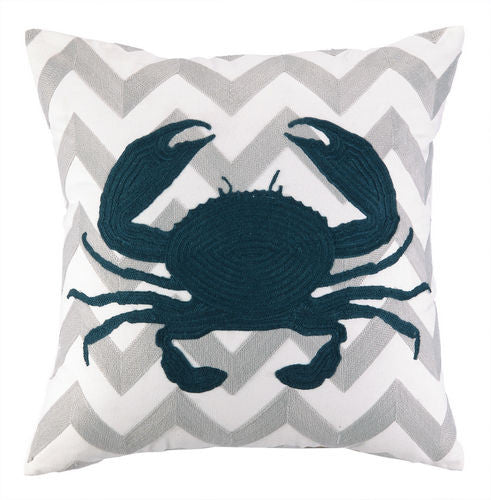 Crab Chevron Embroidered Pillow