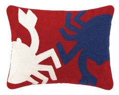 Crab Crewel Embroidered Pillow