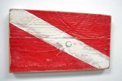 Nautical Wood Signal Flag Diver Down Sign