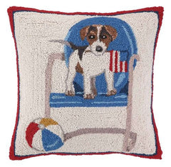 Dog on Chair Hook Pillow