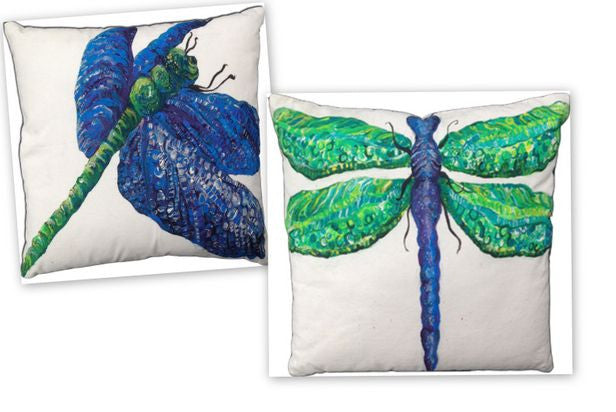 Dragonfly A & B Cotton Canvas Pillow Set- Indoor/Outdoor- Oversized