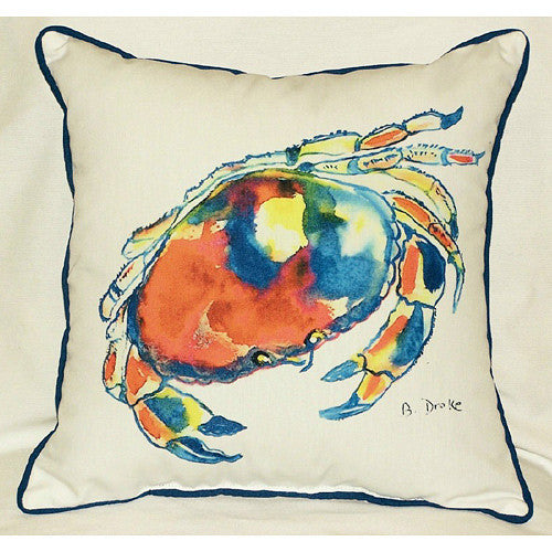 Betsy Drake Dungeness Crab Pillow- Indoor/Outdoor