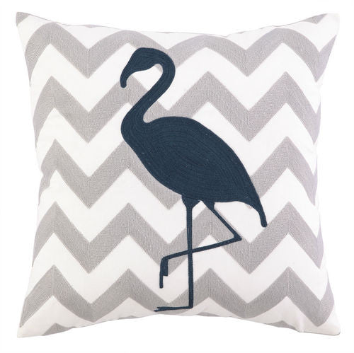 Flamingo Chevron Embroidered Pillow