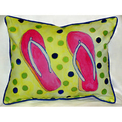 Betsy Drake Flip Flops Pillow- Indoor/Outdoor