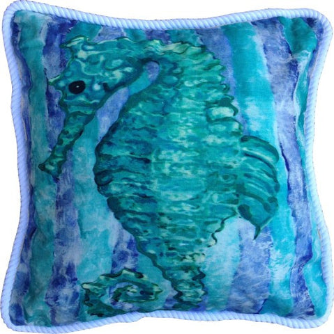 Green Seahorse Cotton Canvas Pillow- Indoor/Outdoor- Oversized