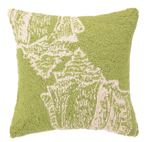 Green Double Seashell Hook Pillow
