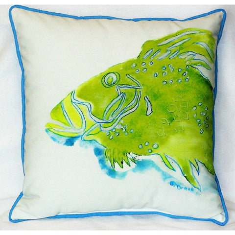 Betsy Drake Green Fish Pillow- Indoor/Outdoor