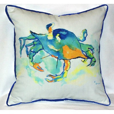 Betsy Drake Orange Crab Pillow- Indoor/Outdoor