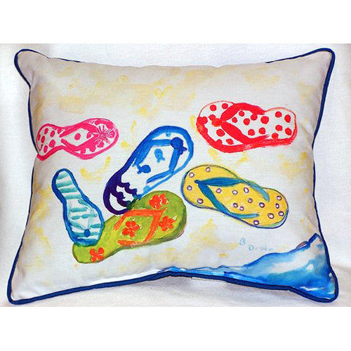 Betsy Drake Six Flip Flops Pillow- Indoor/Outdoor