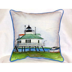 Betsy Drake Hooper Straight Lighthouse Pillow- Indoor/Outdoor