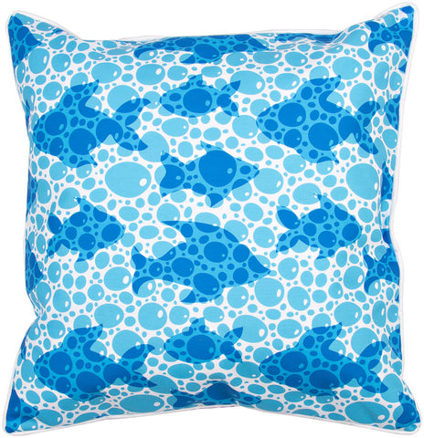 Blue Fish Bubbles Pillow