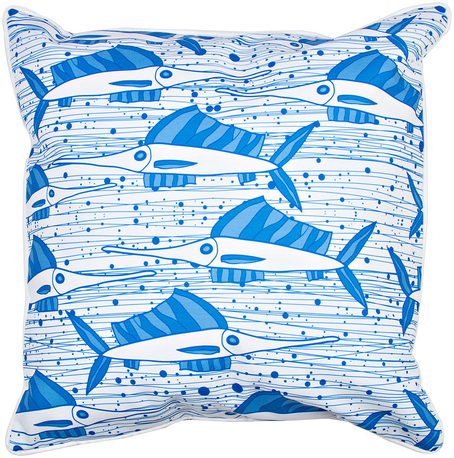 Sailfish School Blue Pillow