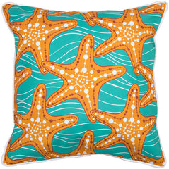 Starfish in Waves Pillow